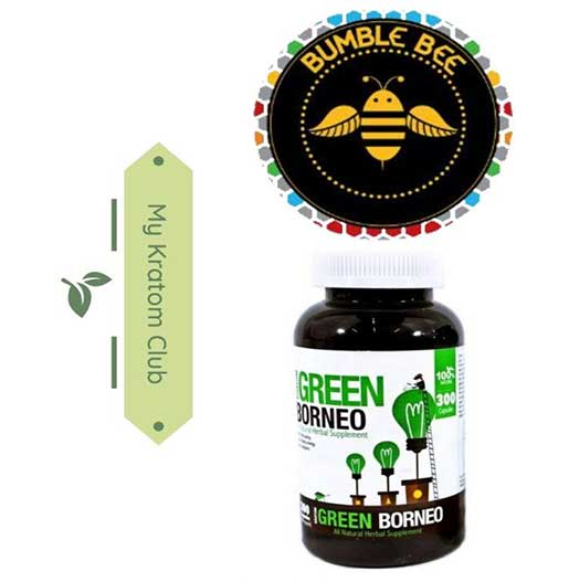 Bumble Bee Green Borneo Kratom Capsules 300 count bottle brought to you by My Kratom Club