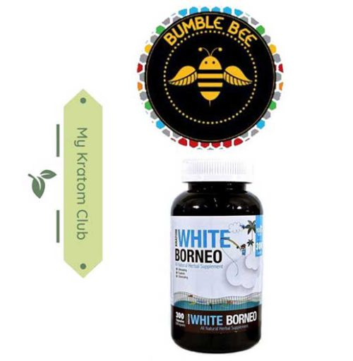 Bumble Bee White Borneo Kratom Capsules 300 count sold by My Kratom Club