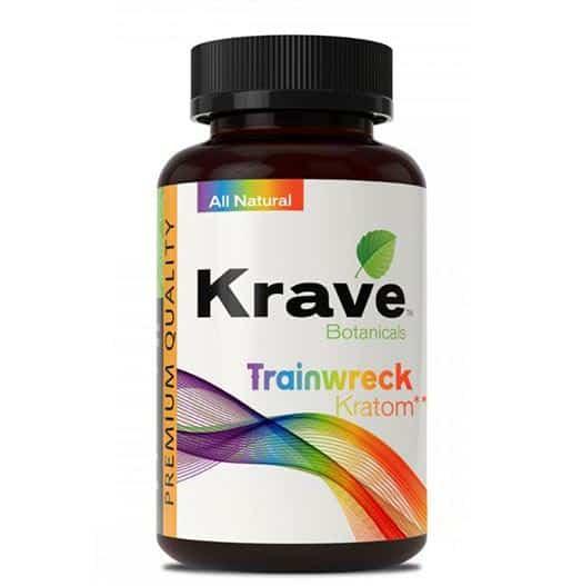 Krave Trainwreck Kratom Capsules bottle front