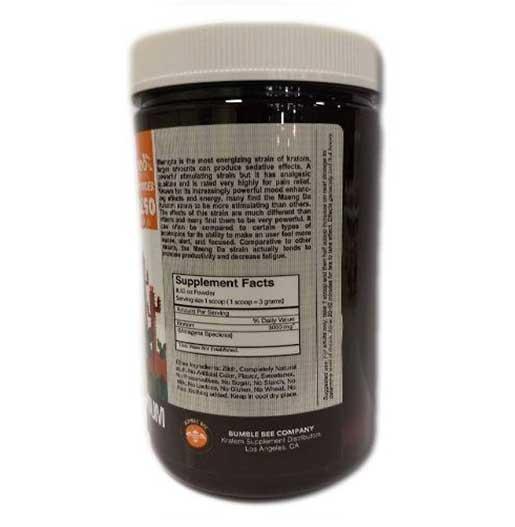 Bumble Bee Maeng Da Kratom Powder 250 gram container back
