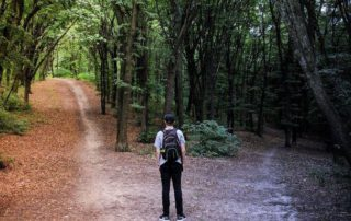 Man standing in the forest wondering which direction to go.