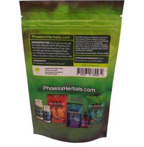 Phoenix Green Vein Kratom 3 oz bag back