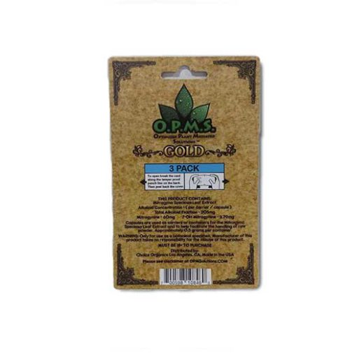 OPMS Gold Kratom Capsules 3 pack back