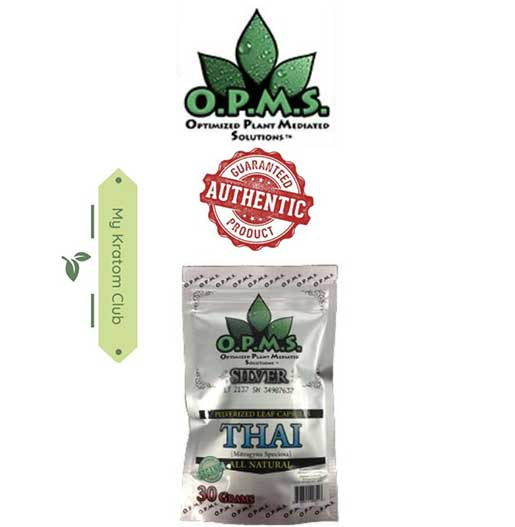 OPMS Silver Thai Kratom Capsules guaranteed authentic from My Kratom Club