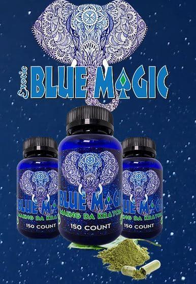 Blue Magic Kratom Bottles and Logo