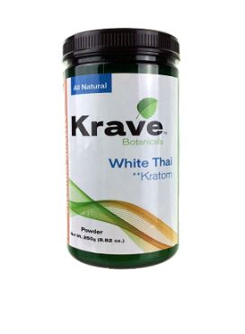 Krave White Thai Kratom Powder 250G front of container (Small)