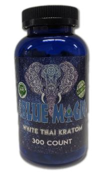 Blue Magic White Thai Kratom Capsules 300 Count Bottle Front