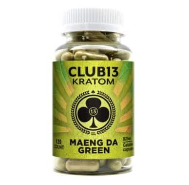 Club 13 Maeng Da Green Kratom Capsules Front of Bottle