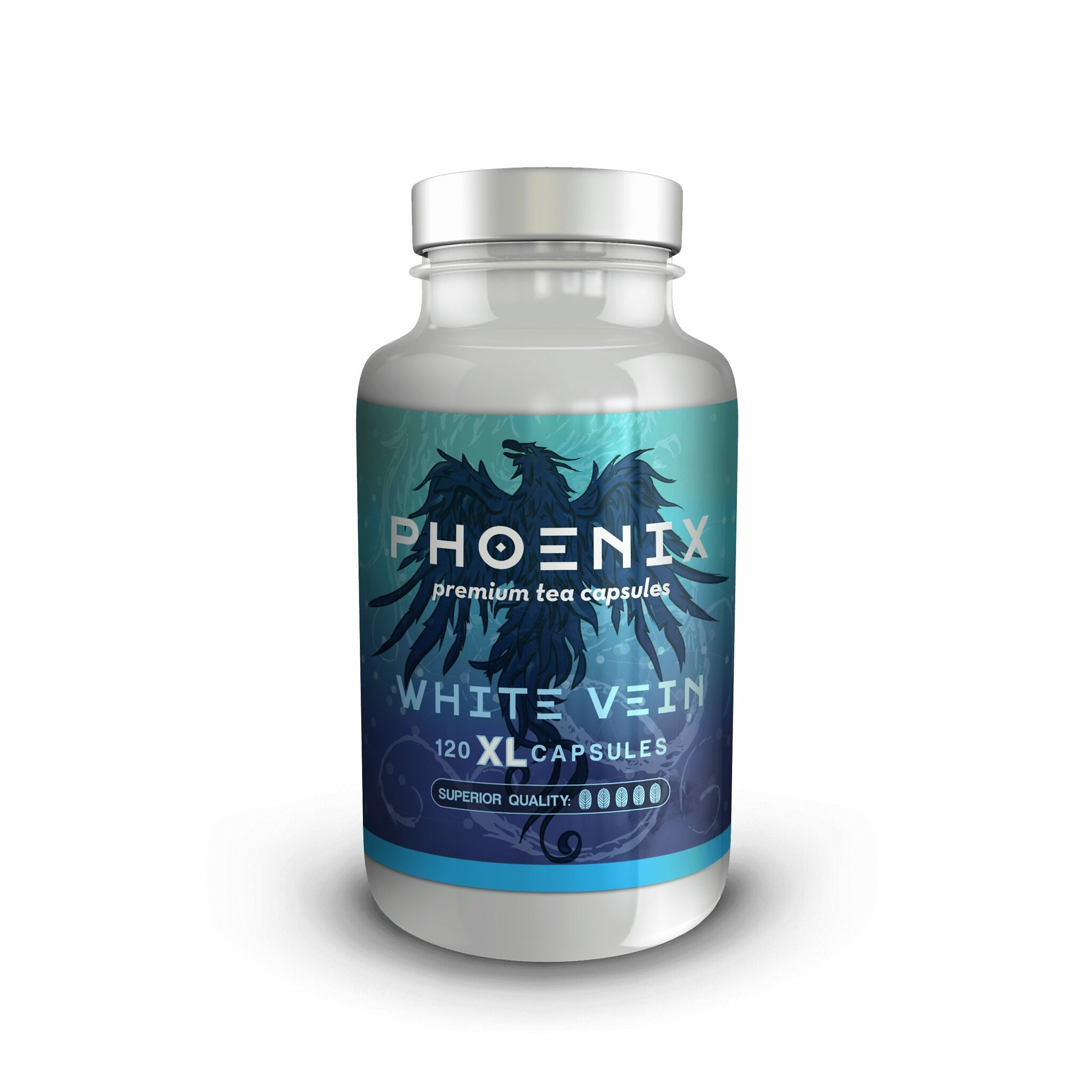 Phoenix White Vein Kratom XL Capsules 120 count bottle front