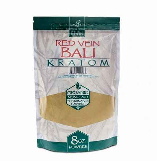 Whole Herbs Red Vein Bali Kratom Powder 8 Oz Front of package