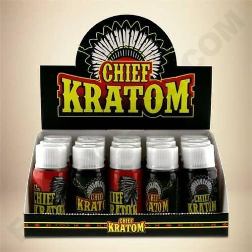 Chief Kratom Liquid Extract Box Open 12 Count