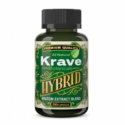 Krave Kratom Extract Hybrid Capsules 100 count front of bottle